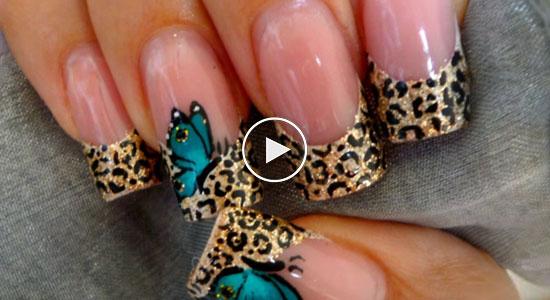 patrón mariposa para uñas