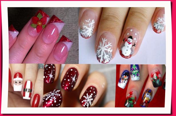 patrones gratis de uñas navideñas